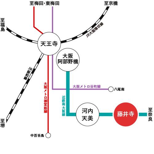 藤井寺の路線図